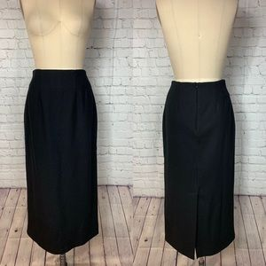 JG Hook Skirt Black Wool Long Maxi Pencil Career